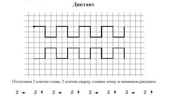 01.Графический диктант по клеточкам для дошкольников