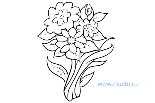 01.Как нарисовать букет цветов поэтапно