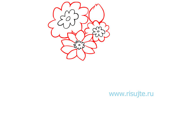 03.Как нарисовать букет цветов поэтапно