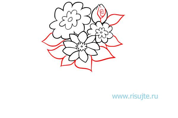04.Как нарисовать букет цветов поэтапно