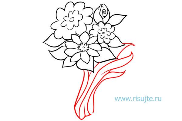 05.Как нарисовать букет цветов поэтапно