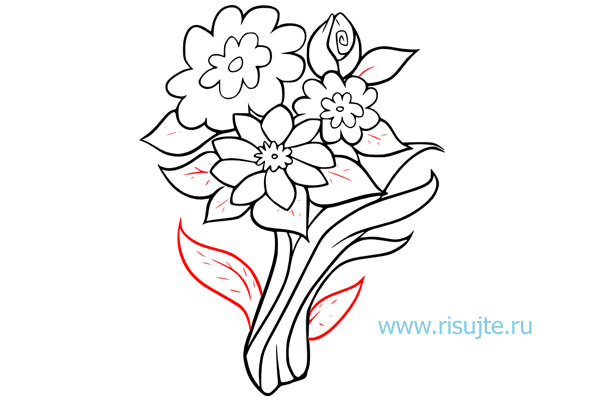 06.Как нарисовать букет цветов поэтапно