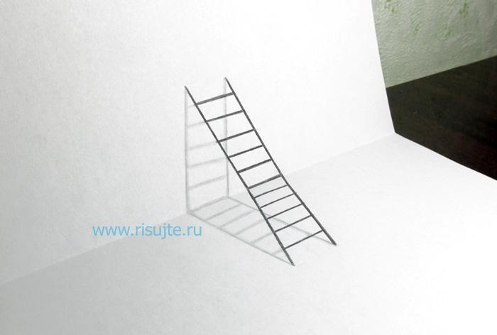 01.Рисуем 3д рисунки карандашом поэтапно для начинающих